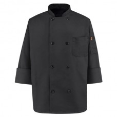 Eight Pearl ButtonBlack Chef Coat