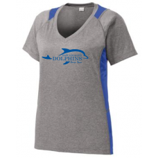 Ladies Heather Colorblock Contender™ V-Neck Tee