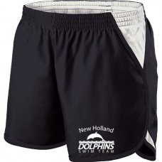 Black/White Girl's Energize Shorts With New Holland Dolphins Swim Team Embroidery