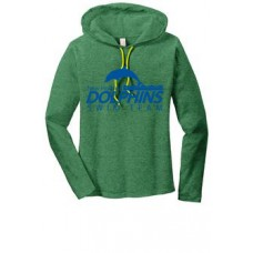 Heather Green/Bright Yellow Ladies Hooded Tee With New Holland Dolphins Swim Team Print