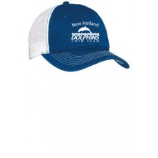 Royal/White Mesh Back Cap With New Holland Dolphins Swim Team Embroidery