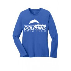 Royal Ladies Long Sleeve Cotton Tee Shirt With New Holland Dolphins Swim Team Print