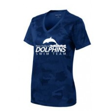 Ladies Camohex V-Neck Tee WIth New Holland Dolphins Swim Team Print