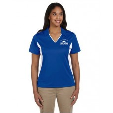 Royal/White Ladies Side Blocked Micro Pique Polo With New Holland Dolphins Swim Team Embroidery