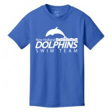 Royal Kids Cotton Tee Shirt With New Holland Dolphins Swim Team Print