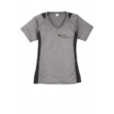 Sport-Tek® Ladies Heather Colorblock Contender™ V-Neck Tee